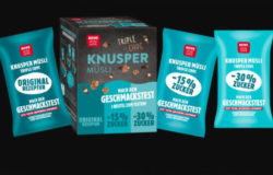 REWE invites shoppers to taste: chocolate granola with 15% or 30% less sugar. Photo: REWE Group