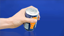 "What's going wrong here? Correct: the can opening is on the bottom. This special packaging with a ""twist"" was the idea of Paris agency BETC. @lesnovateurs.com"