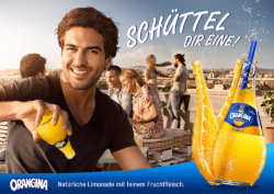 "Get the hang of it: Elyas M'Barek now advertises the iconic brand Orangina on billboards all across Germany. Photo: ""obs/Schweppes"""