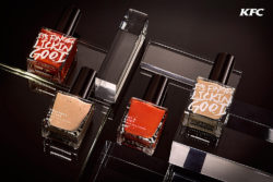 Targeting the Hong Kong market, KFC have thought of a special campaign and produced two limited editions of nail polish that taste of KFC's characteristic spice mixtures. Photo: KFC