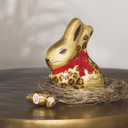 This year's Lindt chocolate bunny is an exotic fellow in an elegant safari outfit.