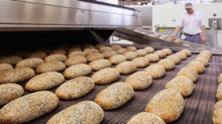 In order to ensure that the bread develops a soft texture, yeast and sourdough are used when baking.